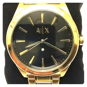 Armani exchange gold watch with diamonds